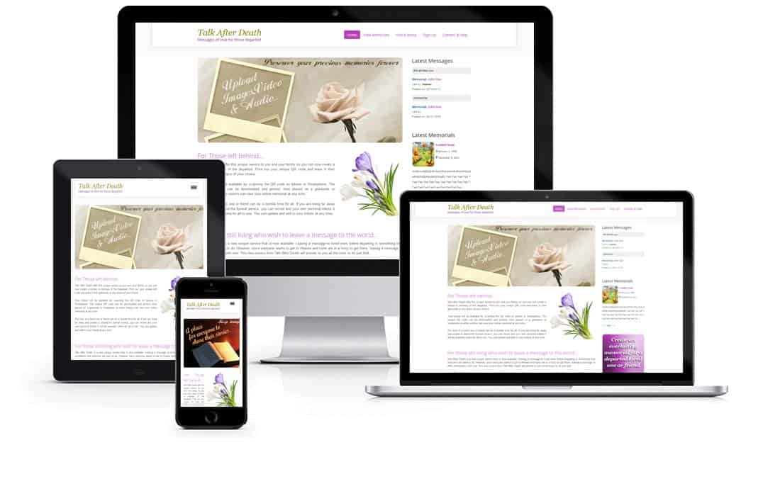 Responsive Web design by Heaventree Design for Talk After Death