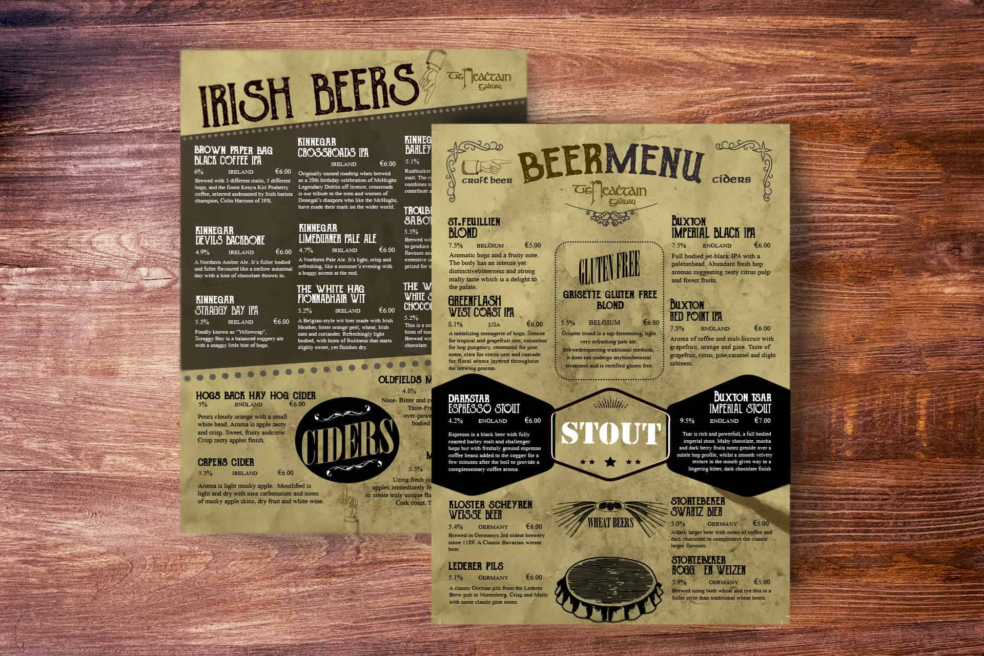 Poster design galway - Tigh Neachtain Galway Bar Menu Beer
